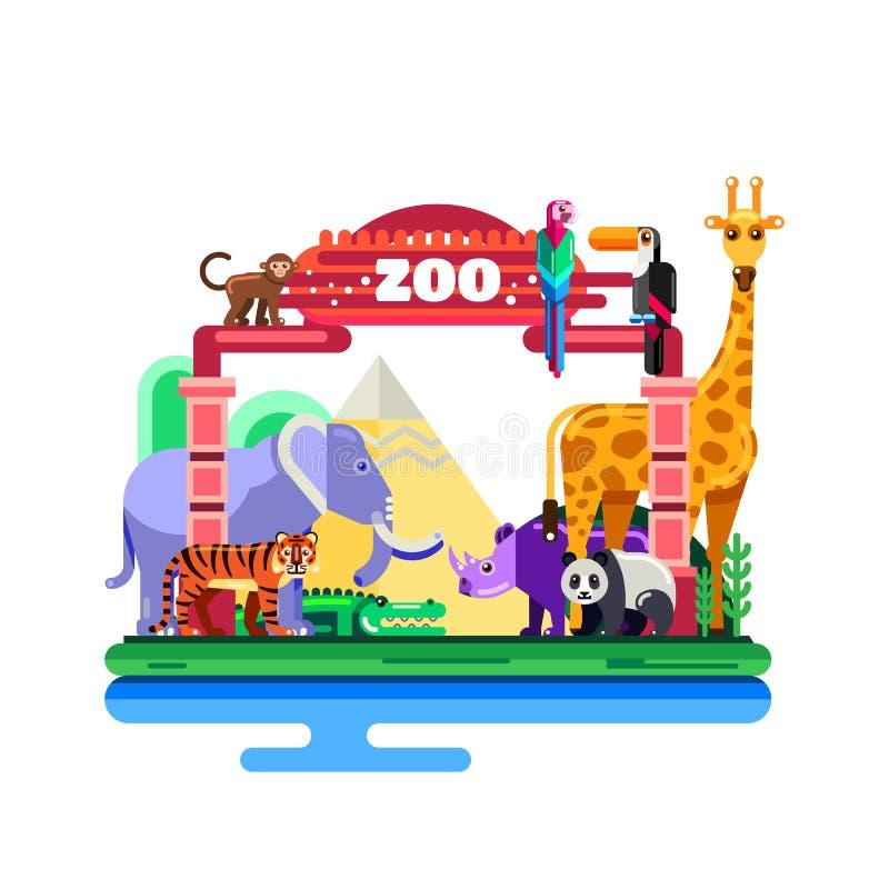 Entrada do jardim zoológico, ilustração lisa do vetor isolada no fundo branco Animais selvagens coloridos em torno das portas ilustração royalty free