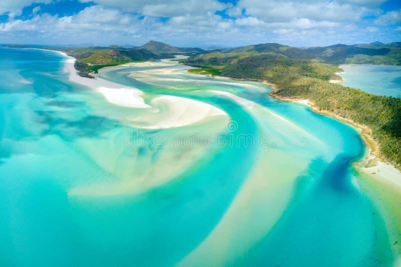 Entrada do monte na praia de Whitehaven na ilha de Whitesunday, Queensland, Austrália imagem de stock