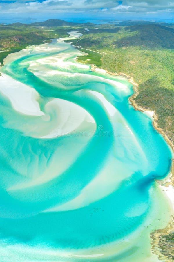 Entrada do monte na praia de Whitehaven na ilha de Whitesunday, Queensland, Austr?lia foto de stock