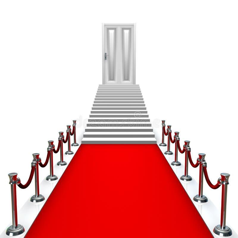 Entrada do tapete vermelho com porta ilustração do vetor