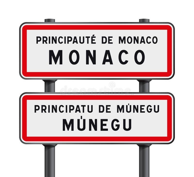 Entrada dos sinais de estrada de Mônaco ilustração do vetor