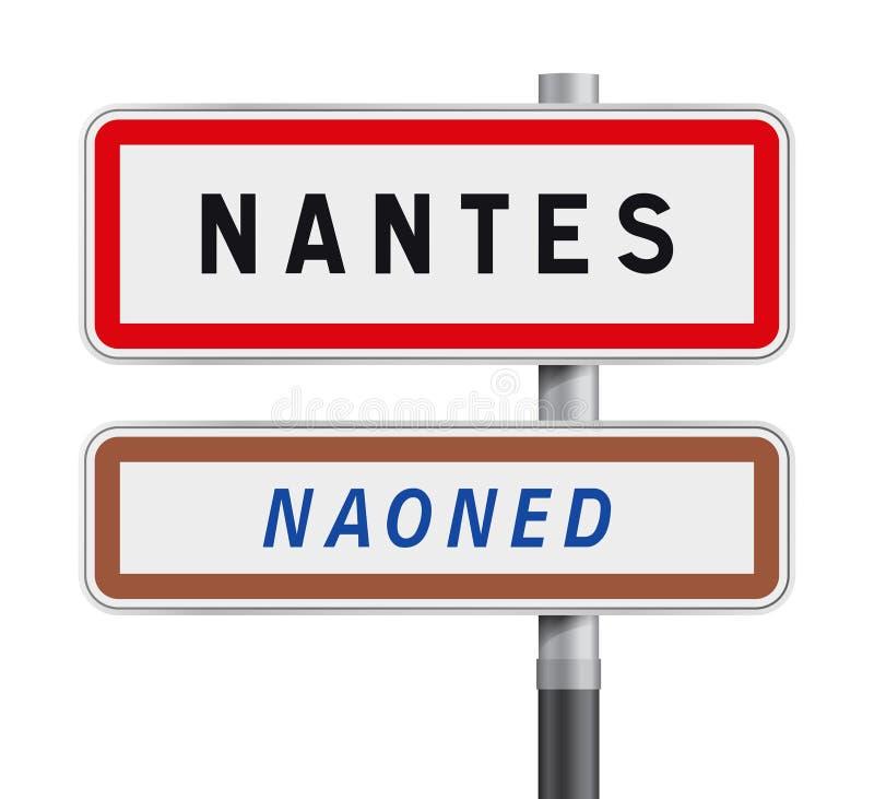 Entrada dos sinais de estrada de Nantes ilustração royalty free