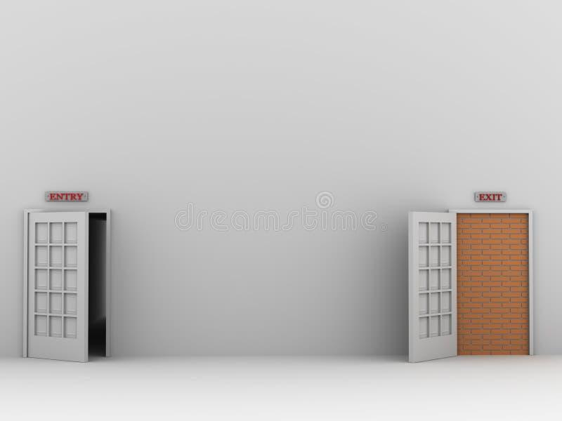 Entrada e saída ilustração stock