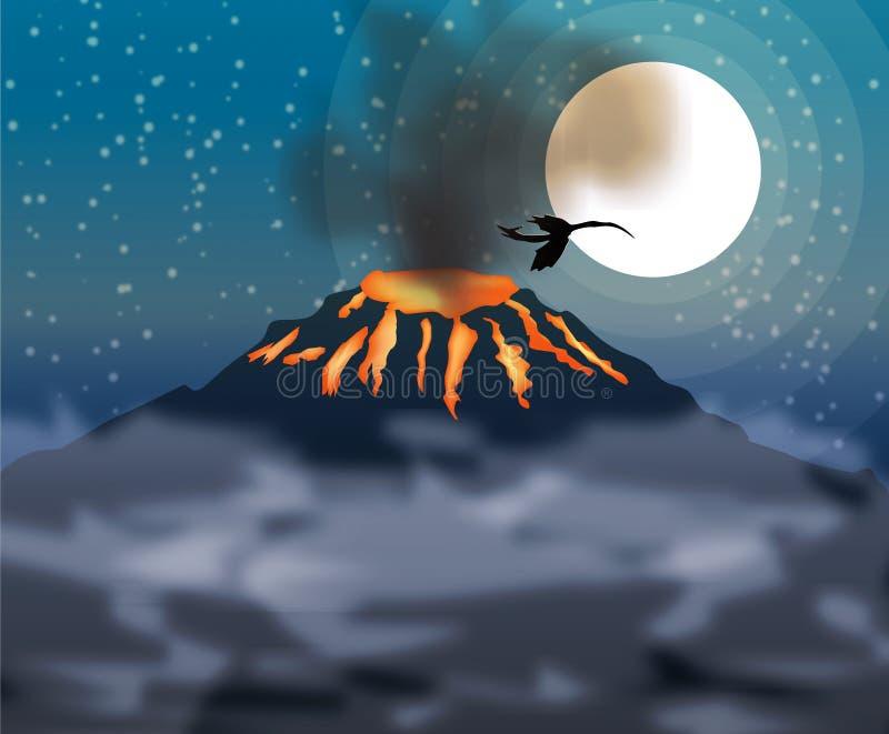 Entrada em erupção do vulcão e mosca do dragão ilustração royalty free