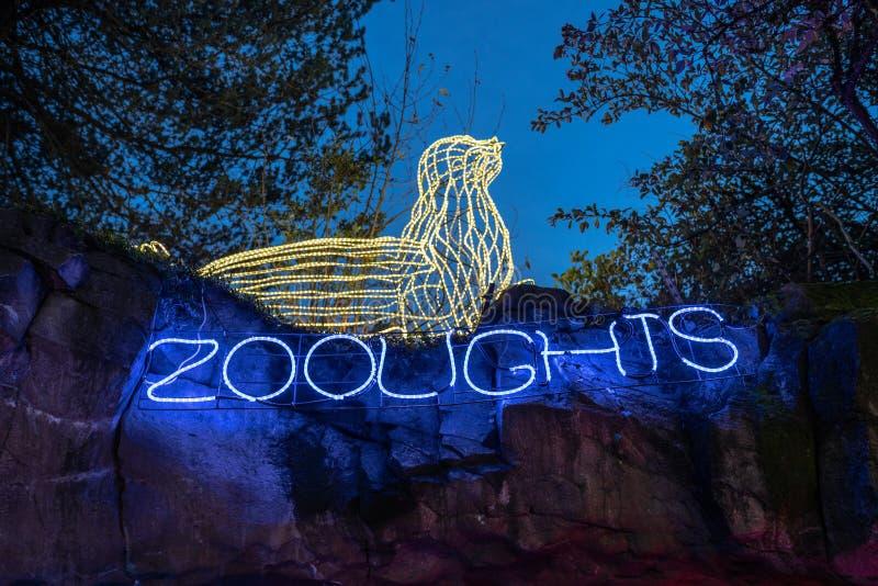 Entrada exterior da exibição das luzes de ZooLights foto de stock royalty free