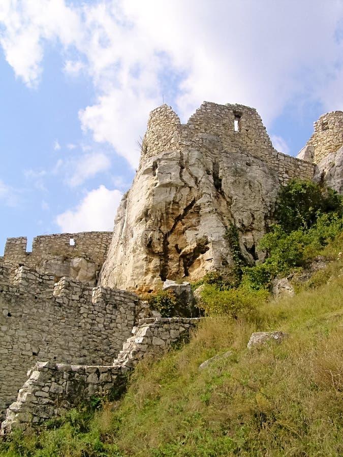 Entrada externo da castelo-fortificação de Eslováquia Spissky imagem de stock