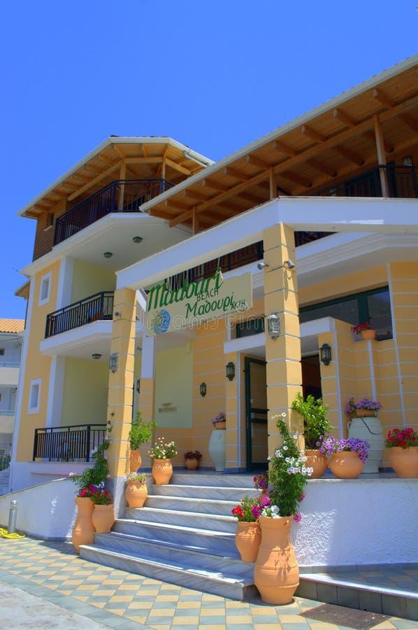 Entrada griega del hotel fotos de archivo