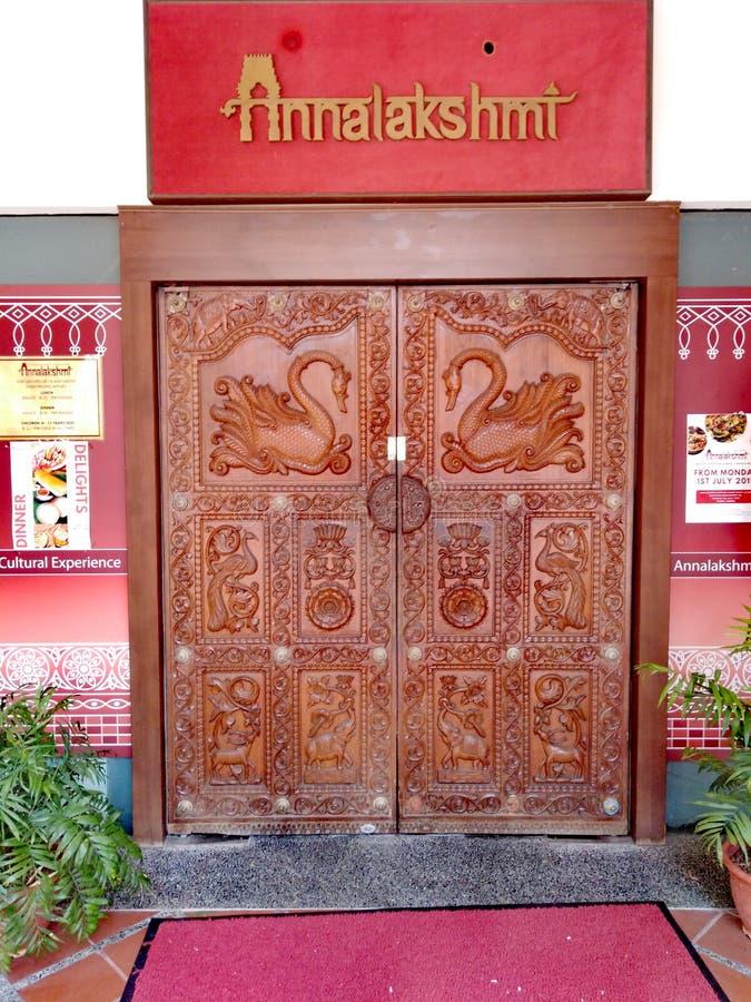 Entrada indiana do restaurante do vegetariano de Annalakshmi imagem de stock royalty free