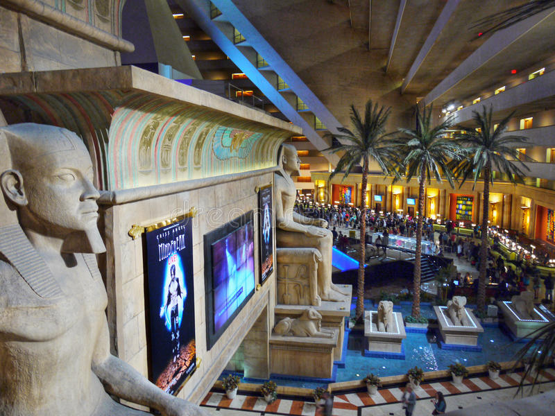 Entrada interior Las Vegas do casino de Luxor fotografia de stock