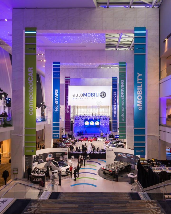 Entrada internacional norteamericana del salón del automóvil, en el centro de Cobo, imagen de archivo