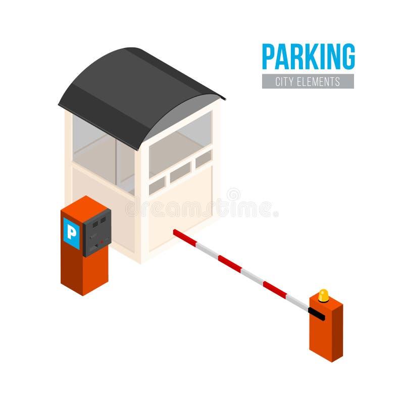 Entrada isométrica del estacionamiento Elementos de la ciudad del vector Puerta del coche, cabina y estación del pago stock de ilustración