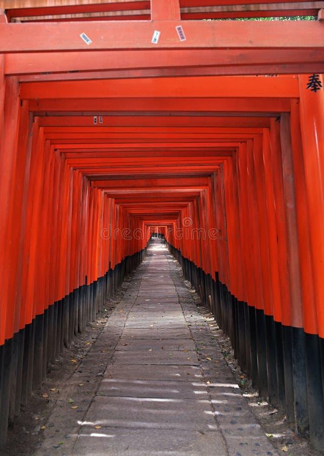 Entrada japonesa do santuário com colunas vermelhas e fundo preto dos telhados imagens de stock royalty free