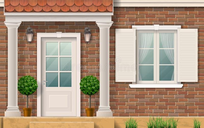 Entrada a la casa con las columnas stock de ilustración