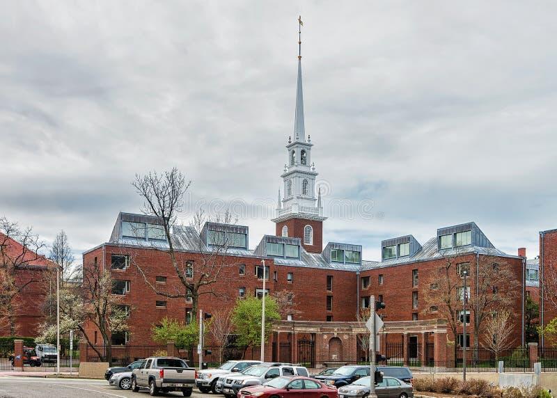 Entrada a la iglesia conmemorativa en la yarda Cambridge mA de Harvard fotografía de archivo libre de regalías