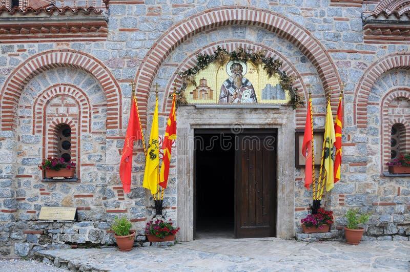 Entrada a la iglesia de los santos clementes y de Panteleimon imagenes de archivo