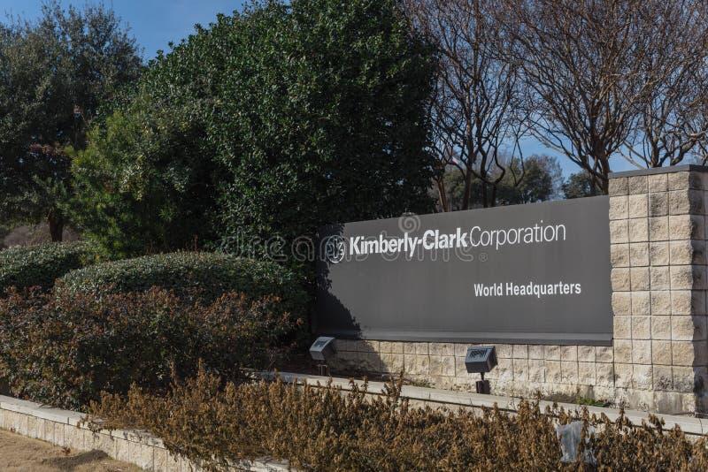 Entrada a las jefaturas del mundo de Kimberly-Clark en Irving, Tex imágenes de archivo libres de regalías