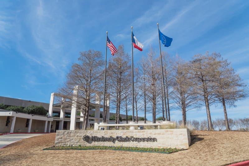 Entrada a las jefaturas del mundo de Kimberly-Clark en Irving, Tex imagen de archivo libre de regalías