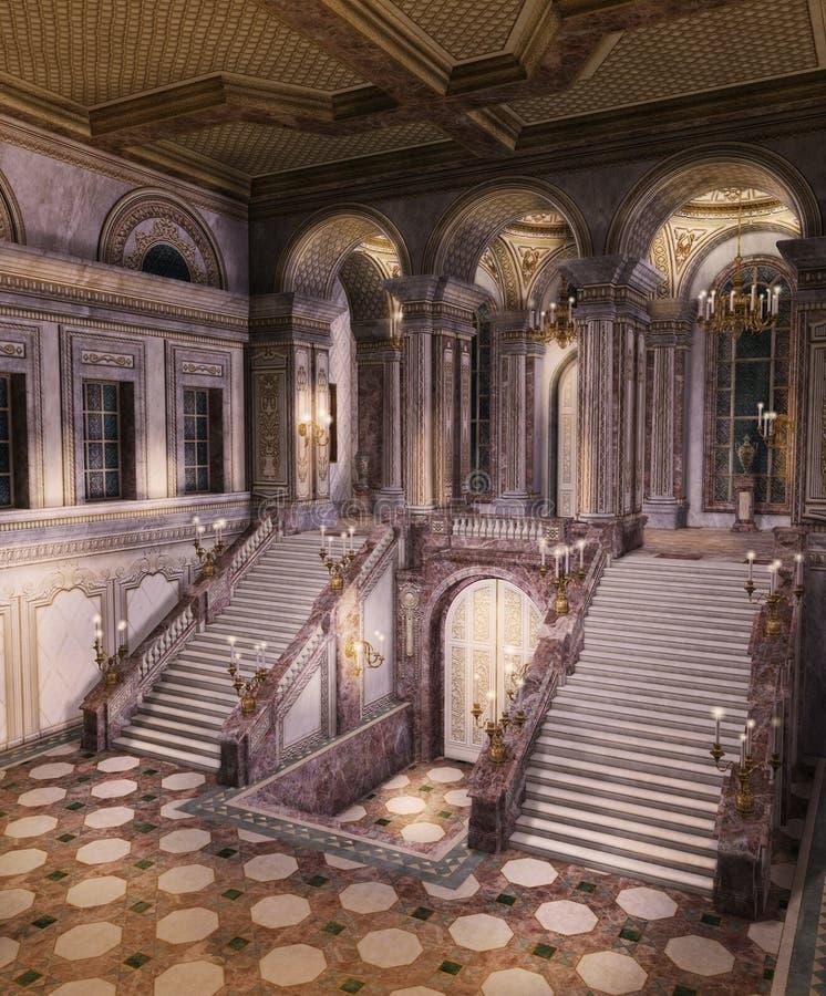Entrada mágica do palácio com escadaria grande ilustração stock