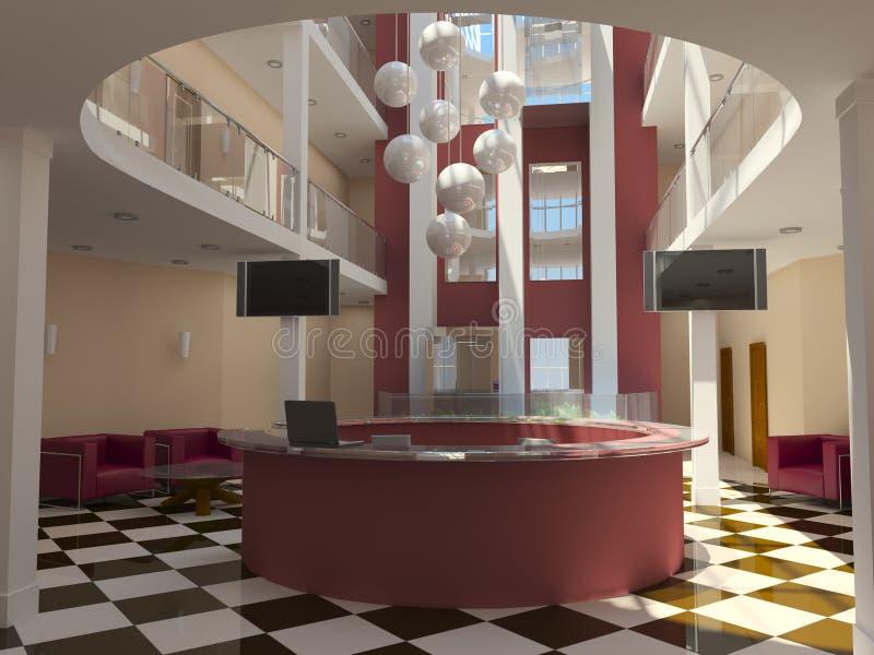 Entrada moderna do hotel com recepção ilustração royalty free