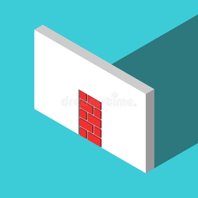 Entrada murada-acima isométrica, paralização completa ilustração royalty free