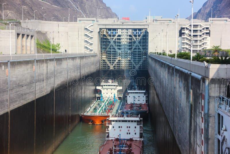 Entrada no Rio Yangtzé, Three Gorge Dam, China foto de stock