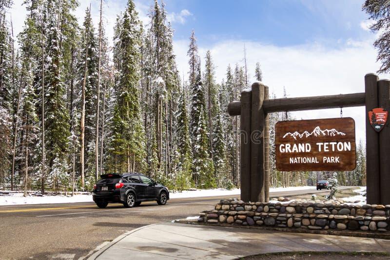A entrada norte no parque nacional grande de Teton fotografia de stock