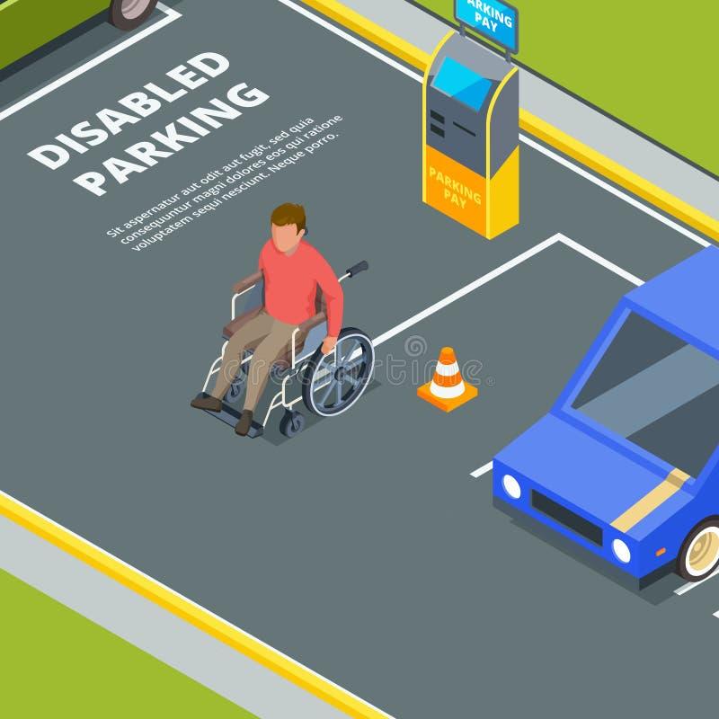 Entrada para o estacionamento urbano para povos deficientes ilustração do vetor