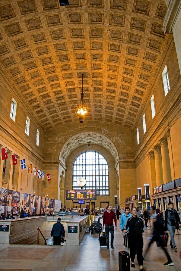 Entrada principal da estação em Toronto, Ontário da união fotografia de stock