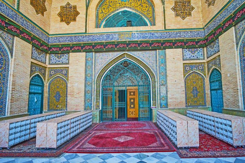 Entrada principal da mesquita do ` s do xá em Tehran foto de stock