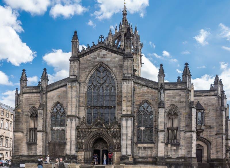 Entrada principal do St Giles Cathedral, Edimburgo Escócia Reino Unido imagens de stock