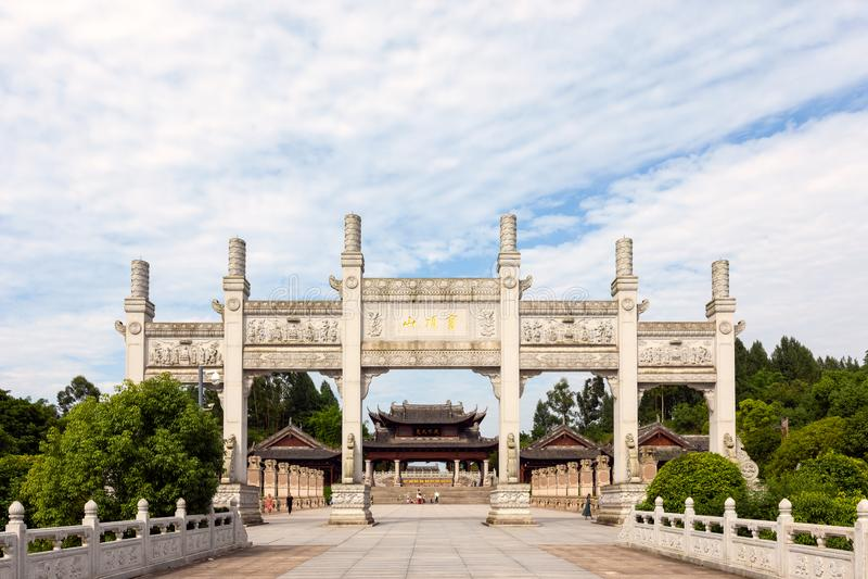 Entrada principal a las tallas de la roca de Dazu en el soporte Baoding o Baodingshan en el distrito de Dazu, Chongqing imagenes de archivo