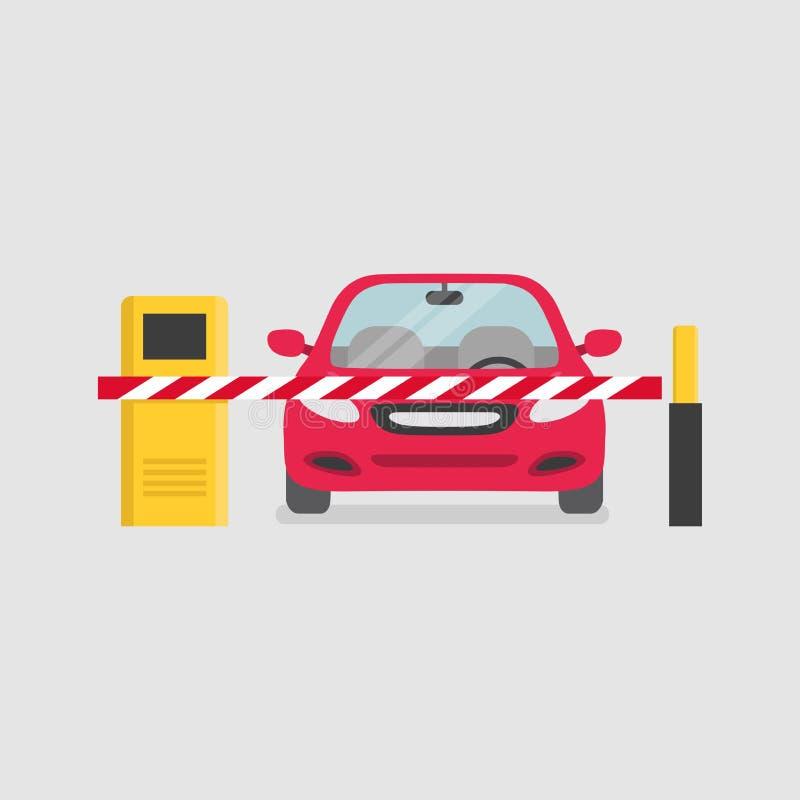 Entrada que parquea con la puerta de la barrera de la seguridad y la máquina de la multa de aparcamiento stock de ilustración