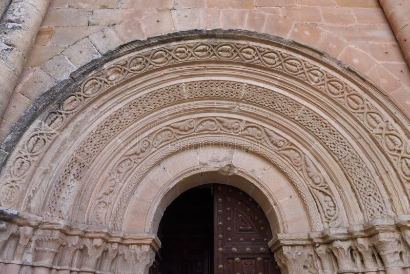 Entrada Románica de San Vicente de Siguenza, foto de archivo