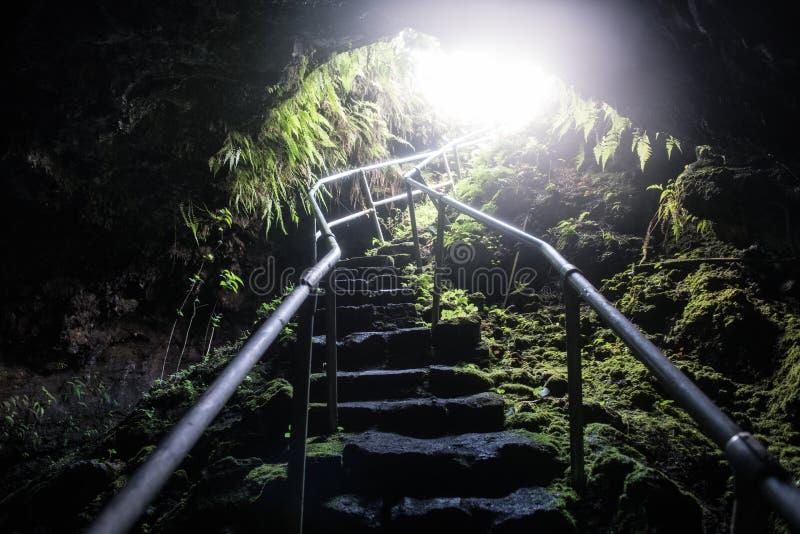 Entrada tropical de la cueva con las escaleras para los turistas en la isla de Maui, Hawaii fotografía de archivo