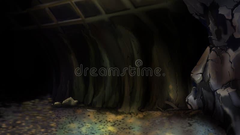Entrada a una mina abandonada ilustración del vector