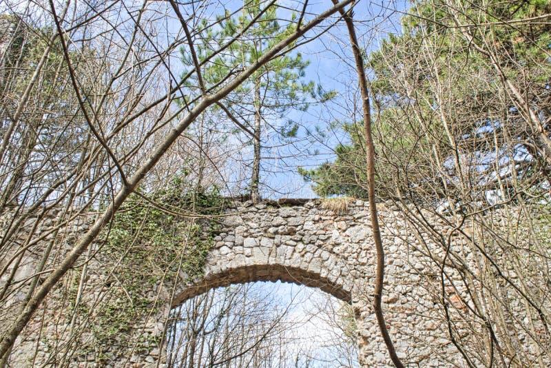 entrada a una ruina vieja del castillo en el bosque foto de archivo