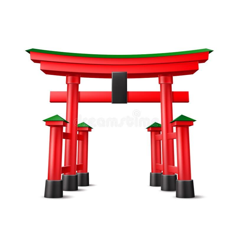 Entrada vermelha de madeira da porta de Torii do japonês do vetor ilustração do vetor