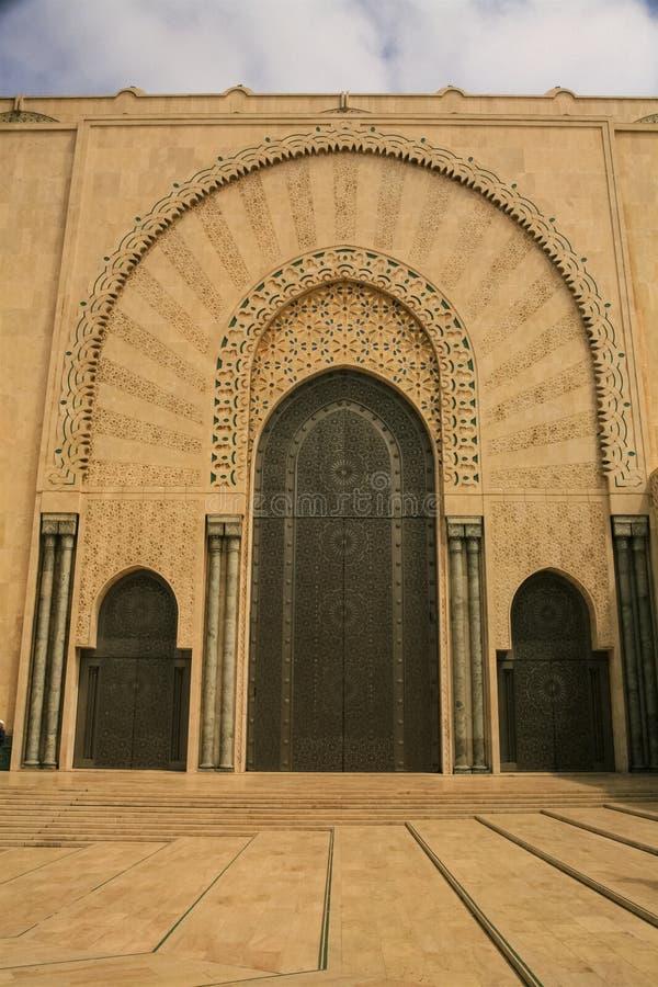 Entrada y puertas, Hassan Mosque, Casablanca, Marruecos imagen de archivo libre de regalías