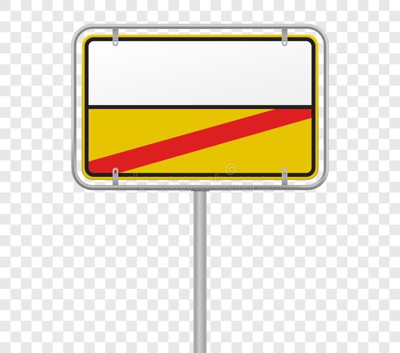 Entrada y salida, plantilla de la ciudad de la señal de tráfico del límite de ciudad Señal de tráfico amarilla del vector y blanc ilustración del vector