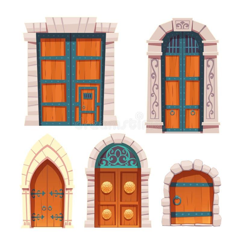 Entradas medievais das portas ajustadas, as de madeira e as de pedra ilustração do vetor