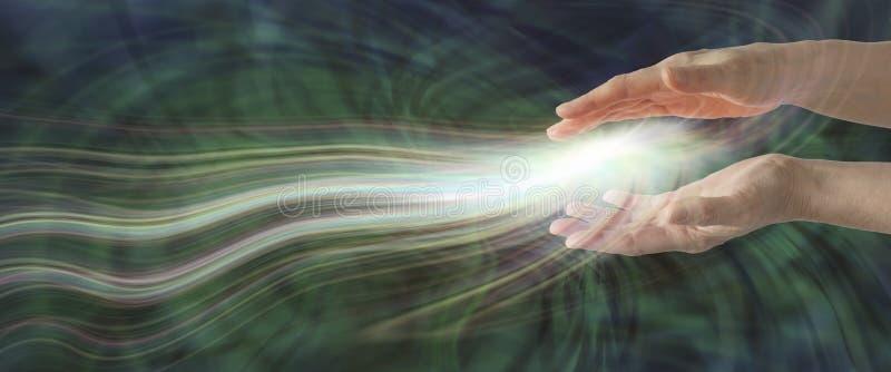 Entrainment of high resonance healing energy banner stock photos