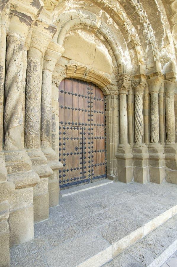 Entrance. To the church of Santa Maria in Ejea de los Caballeros, saragossa, Spain stock images