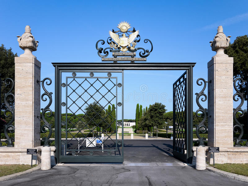 Entrance of the American Military Cemetery in Nettuno stock photo
