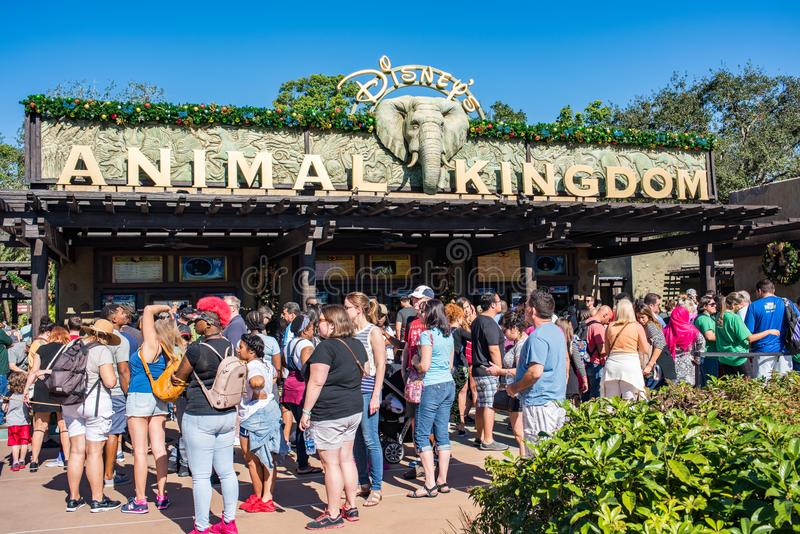 Entrance at Animal Kingdom at Walt Disney World. Orlando, Florida: December 1, 2017: Entrance at Animal Kingdom at Walt Disney World at Animal Kingdom at Walt stock photography