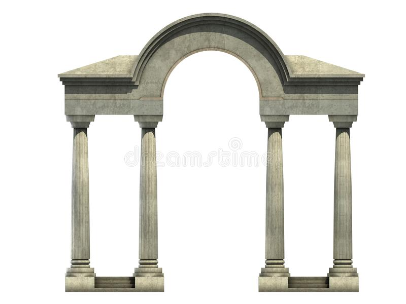 Entrance with arch and columns stock illustration
