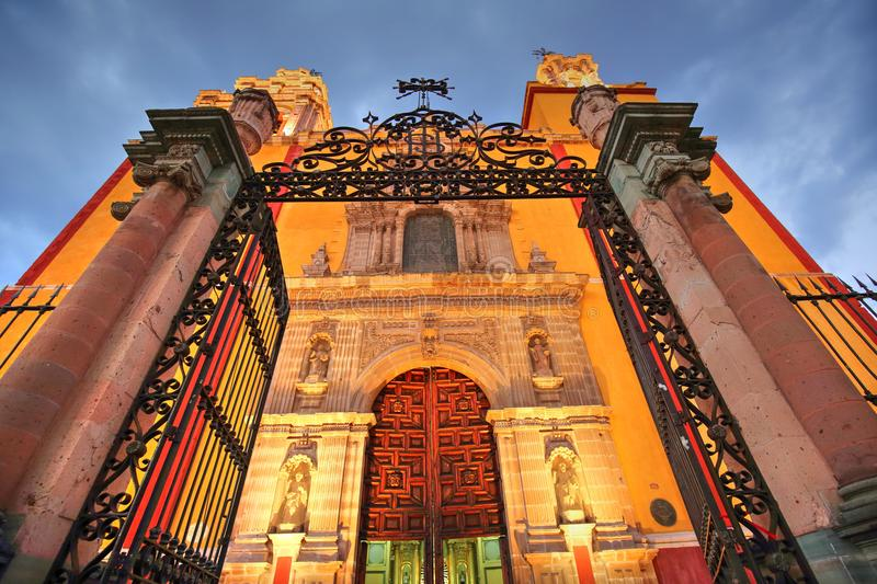 Entrance of Basilica of Our Lady of Guanajuato stock photography