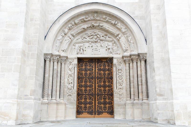 Entrance of the basilica Saint Denis stock photo
