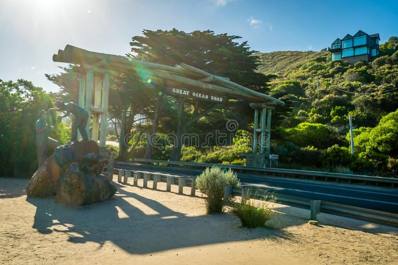 Entrance and beginning of the Great Ocean Road in Australia royalty free stock images