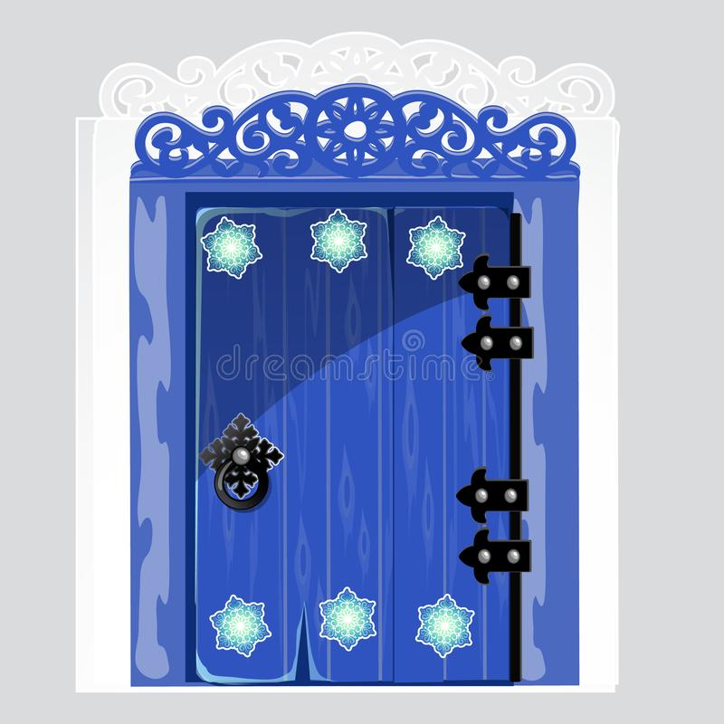 Entrance blue wooden door with patterns snowflake isolated on gray background. Idea festive interior. Attributes of New vector illustration