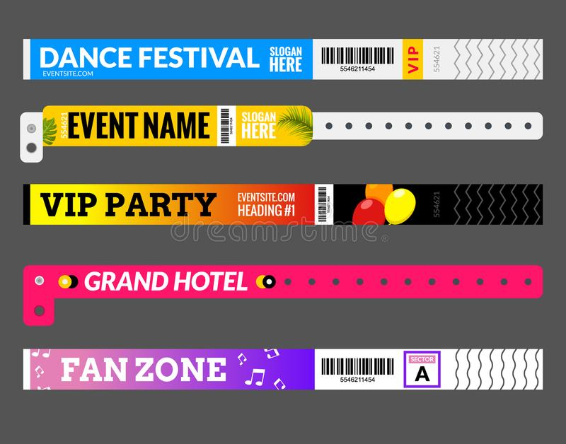 Entrance bracelet at concert event zone festival. Access id template design. Perfoming carnival or dance wristband design entrance stock illustration